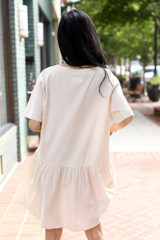 Button Front Babydoll Dress in Ivory Back View