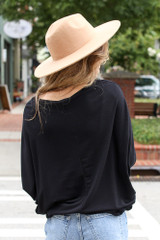 Soft Knit Dolman Sleeve Top in Black Back View