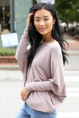 Soft Knit Dolman Sleeve Top in Mauve Side View