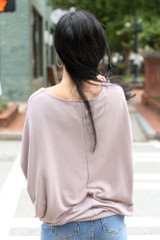 Soft Knit Dolman Sleeve Top in Mauve Back View