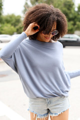 Soft Knit Dolman Sleeve Top in Denim Front View