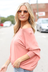Soft Knit Dolman Sleeve Top in Peach Side View