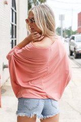 Soft Knit Dolman Sleeve Top in Peach Back View