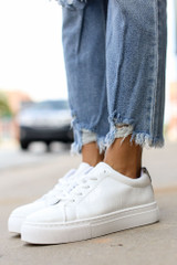 White - Crocodile Platform Sneakers from Dress Up
