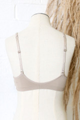 Padded Bralette in Taupe Back View