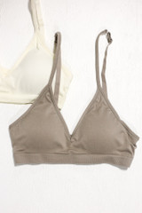 Heather Grey - Flat Lay of a Padded Bralette on a white background