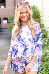Dress Up model wearing Tie-Dye Lounge Shorts with the matching top