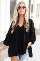 Black - Oversized Babydoll Top