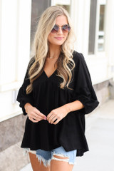 Black - Oversized Babydoll Top from Dress Up