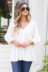 Ivory - Dress Up model wearing an Oversized Babydoll Top