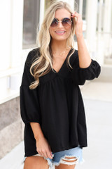 Oversized Babydoll Top in Black Front View