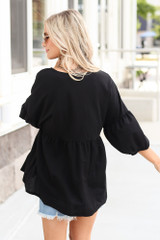 Oversized Babydoll Top in Black Back View