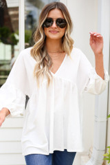 Oversized Babydoll Top in Ivory Front View