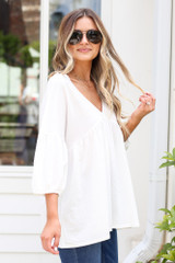Oversized Babydoll Top in Ivory Side View