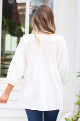 Oversized Babydoll Top in Ivory Back View