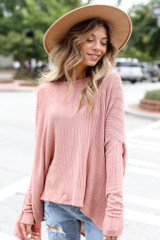 Model wearing an Oversized Ribbed Knit Top
