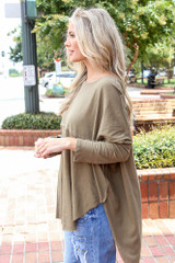 Oversized Top in Olive Side View
