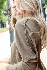 Close Up of an Oversized Top in Olive