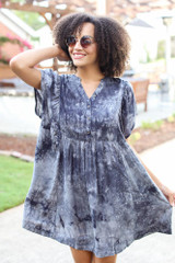 Black - Tie-Dye Babydoll Dress
