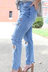 Distressed Straight Leg Jeans Side View