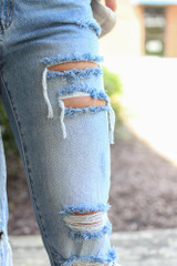 Close Up of Distressed Straight Leg Jeans