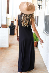 Sleeveless Maxi Dress in Black Back View