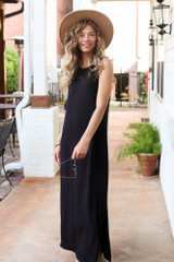 Sleeveless Maxi Dress in Black Front View