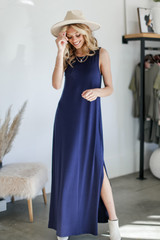 Navy - Model wearing a Sleeveless Maxi Dress