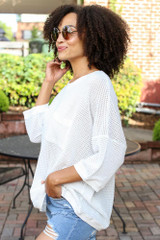 Oversized Waffle Knit Top in White Side View