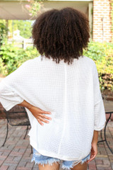 Oversized Waffle Knit Top in White Back View