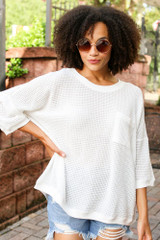 Oversized Waffle Knit Top in White Front View