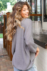 Oversized Waffle Knit Top in Charcoal Side View