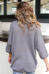 Oversized Waffle Knit Top in Charcoal Back View