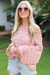 Taupe - Striped Balloon Sleeve Top from Dress Up