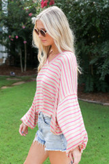 Striped Balloon Sleeve Top Side View