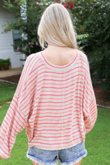 Striped Balloon Sleeve Top Back View