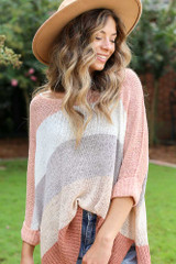Blush - Striped Knit Sweater