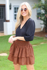 Brown - Spotted Tiered Skirt from Dress Up