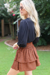 Spotted Tiered Skirt Side View
