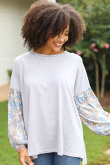 Grey - Oversized Statement Sleeve Top