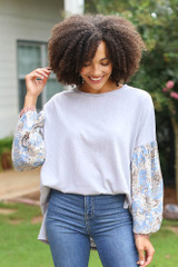 Grey - Oversized Statement Sleeve Top from Dress Up