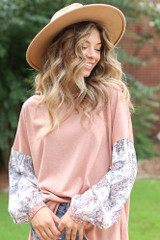 Blush - Model wearing an Oversized Statement Sleeve Top