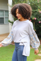 Oversized Statement Sleeve Top in Grey Side View
