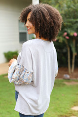 Oversized Statement Sleeve Top in Grey Back View