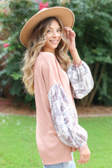 Oversized Statement Sleeve Top in Blush Side View