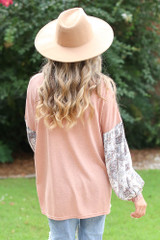 Oversized Statement Sleeve Top in Blush Back View