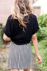 Striped Button Front Denim Skirt Back View