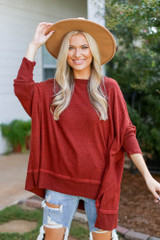 Rust - Dress Up model wearing an Oversized Knit Top with a wide brim hat