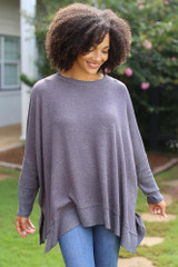 Charcoal - Oversized Knit Top Front View