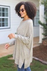 Oversized Knit Top in Taupe Side View